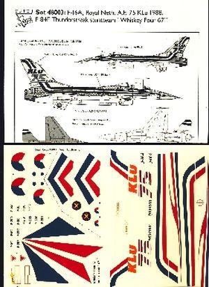 Image not found :Klu F-16A '75 jaar KLu'. KLu F-84F Thunderstreak 'Whiskey Four 67'