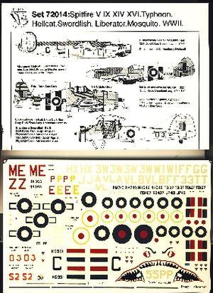 Image not found :Spitfire Mk.V, Mk.XIV, Mk.XVI 322sq, Hellcat 800 & 1844sq, Swordfish, Liberator, Mosquito (roundels not included)
