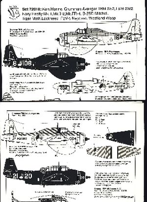 Image not found :MLD; B-25D Mitchell, Westland Wasp, Tiger Moth, Grumman Avenger TBM-3E2, TBM-3W2, P2V-5 Neptune with roundels, (first edition)