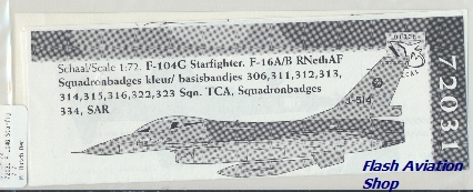 Image not found :F-104G Starfighter and F-16 Fighting Falcon Squadron badges kleur/basisbandjes 306, 311, 312, 313, 314, 315, 316, 322, 323, TCA, 334, SAR