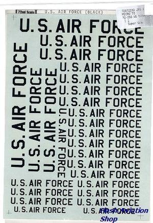 Image not found :US titel 'U.S.AIR FORCE' zwart, diverse maten