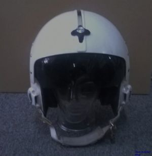 Image not found :HGU-26 US Navy Helmet (white) jet pilot, with non-standard visor