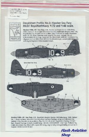 Image not found :DDS3 7248 Hawker Sea Fury MLD/Royal Netherlands Navy 1:72 and 1:48 (roundels included)