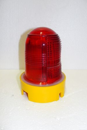 Image not found :Airfield taxi-light, red with yellow base (no light inside)