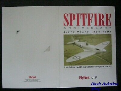 Image not found :Spitfire Anniversary, Sixty Years 1936-1996. Limited edition 5 unit BT phonecrad and Souvenir presentation pack (number 0721)