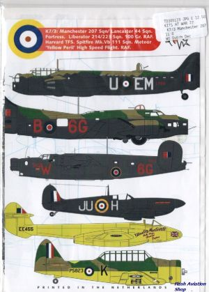 Image not found :Manchester 207 sqn, 44 sqn, Fortress, Liberator 214/223 sqn, 100 Gr.RAF, Harvard TFS, Spitfire Mk.Vb 111 sqn, Meteor Yellow Peril