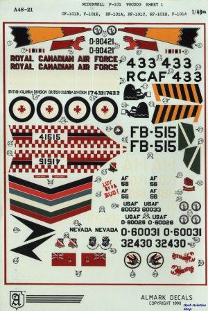 Image not found :McDonnell F-101 Voodoo CF-101B, F-101B, RF-101A, RF-101H, F-101A