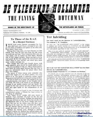 Image not found :1e jg nr. 1; Mei 1945. Eerste uitgave van de Luchtstrijdkrachten, vier pagina's...  (FOLIO !!)